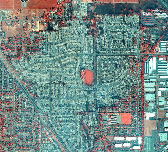 An infrared satellite image shows the burned-out Coffey Park neighborhood in Santa Rosa.