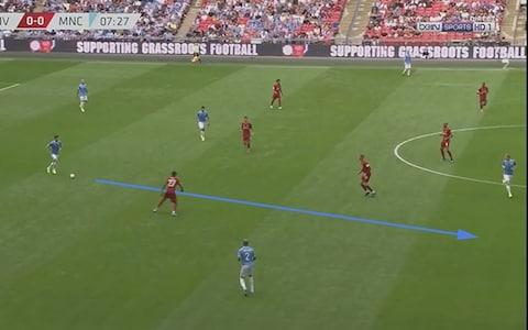 <span>John Stones tries to send a ball between the lines of Liverpool defence but it results in a turnover of possession from which Liverpool nearly score.</span>