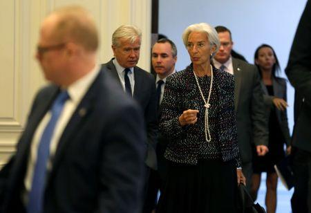 Managing Director of the International Monetary Fund Christine Lagarde arrives to speak at the American Enterprise Institute in Washington, U.S., April 3, 2017. REUTERS/Joshua Roberts
