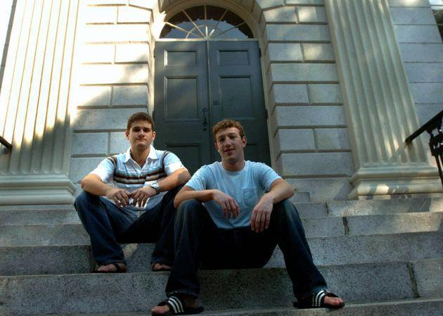 CAMBRIDGE - NOVEMBER 12: Founder of Facebook.com Mark Zuckerberg, right, and Dustin Moscovitz, co-founder, left; have their photo taken at Harvard Yard. The two are students at Harvard University who are taking the semester off. (Photo by Justine Hunt/The Boston Globe via Getty Images) (Photo: Boston Globe via Boston Globe via Getty Images)