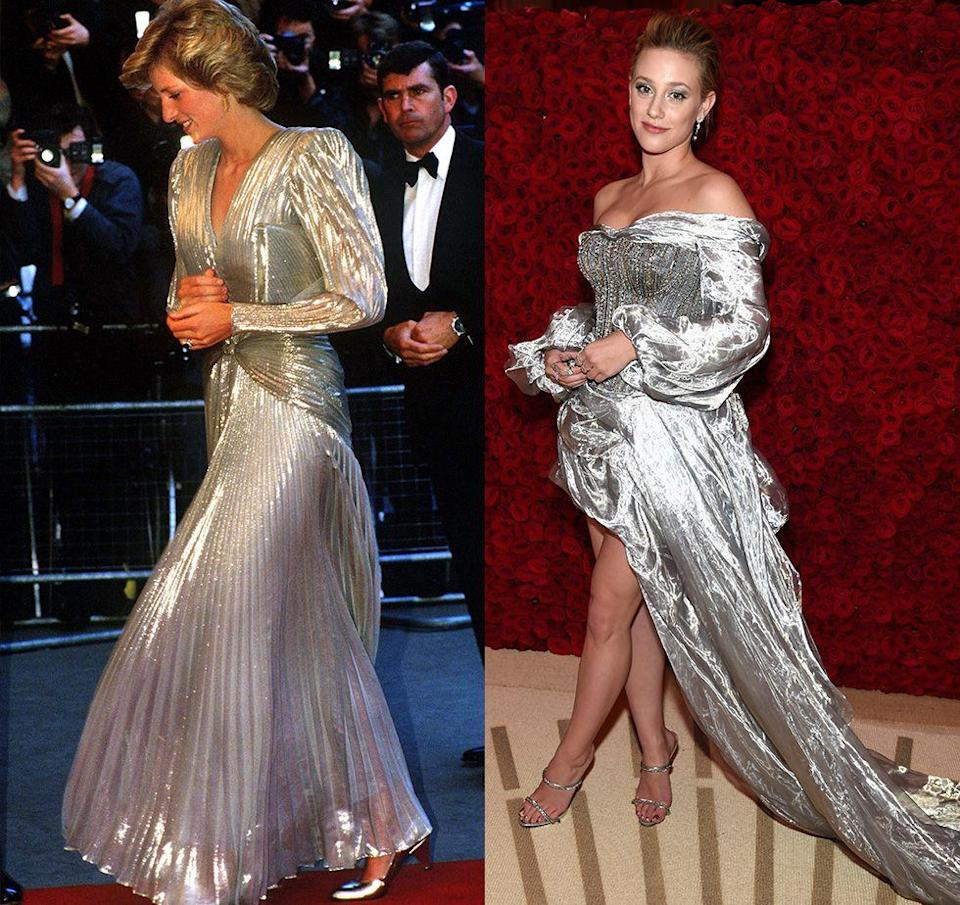 <p>There's no doubt about it, silver lamé is a show-stopping fabric. From the texture to the eye-catching color, Princess Diana and Lili Reinhart prove that it's chic no matter what decade you're in. </p>