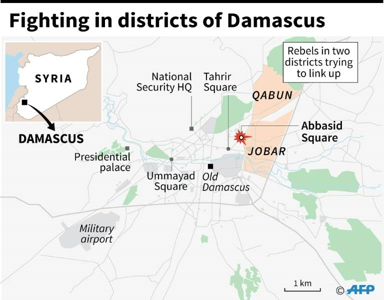 Fighting in districts of Damascus