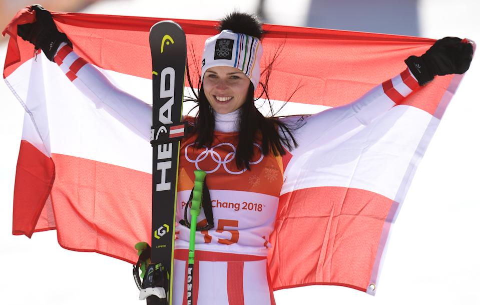 Austria's Anna Veith celebrates during the award ceremony of the women's alpine skiing Super G event in the Jeongseon Alpine Centre in PyeongChang, South Korea, on February 17, 2018.
