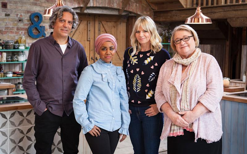 Giorgio Locatelli, Nadiya Hussain, Zoe Ball and Rosemary Shrager, who will appear on The Big Family Cooking Showdown - Credit: BBC