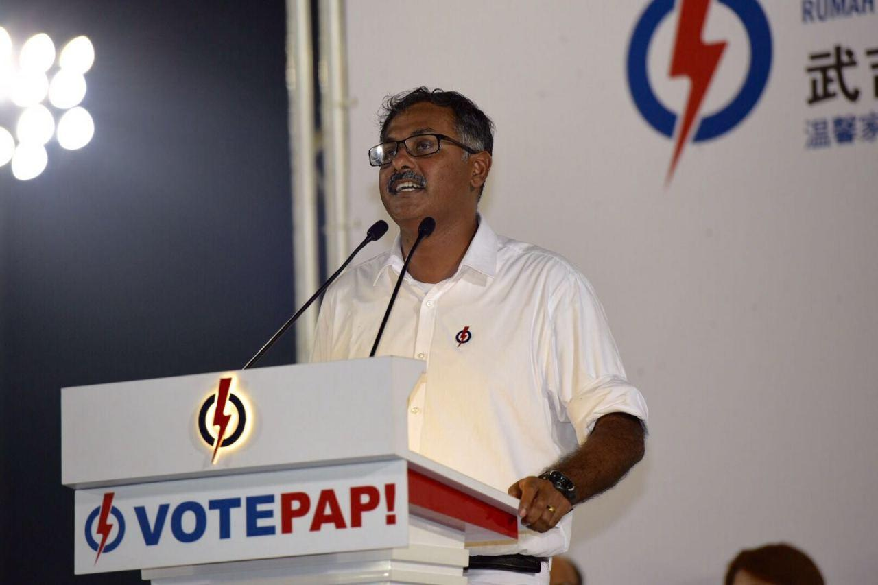 PAP's by-election candidate Murali Pillai speaking at the rally (Photo: Bryan Huang/ Yahoo Singapore)