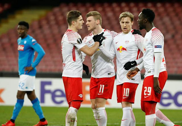 Soccer Football - Europa League Round of 32 First Leg - Napoli vs RB Leipzig - Stadio San Paolo, Naples, Italy - February 15, 2018 RB Leipzig's Timo Werner celebrates scoring their third goal with team mates REUTERS/Ciro De Luca