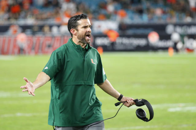 Manny Diaz will lead Miami against his old school Louisiana Tech in the Independence Bowl. (AP Photo/Wilfredo Lee)