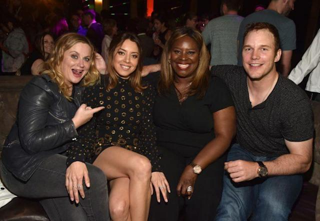 Amy Poehler, Aubrey Plaza, Retta, and Chris Pratt at the after-party. (Photo: Alberto E. Rodriguez/Getty Images)