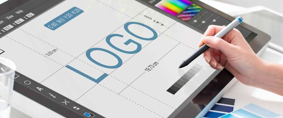 logo design brand designer sketch graphic drawing creative creativity draw studying work tablet concept - stock image