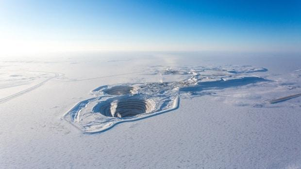 The Diavik Diamond Mine in remote, northeastern N.W.T. A case of COVID-19 among a worker there has turned out to be the territory's first instance of a variant of concern. The chief public health officer has said there is no risk to the public.  (Rio Tinto - image credit)