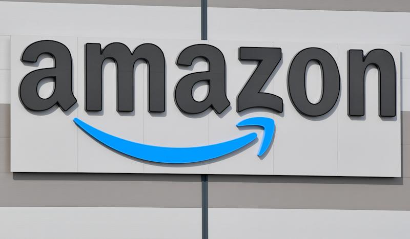 Photo shows Amazon sign.