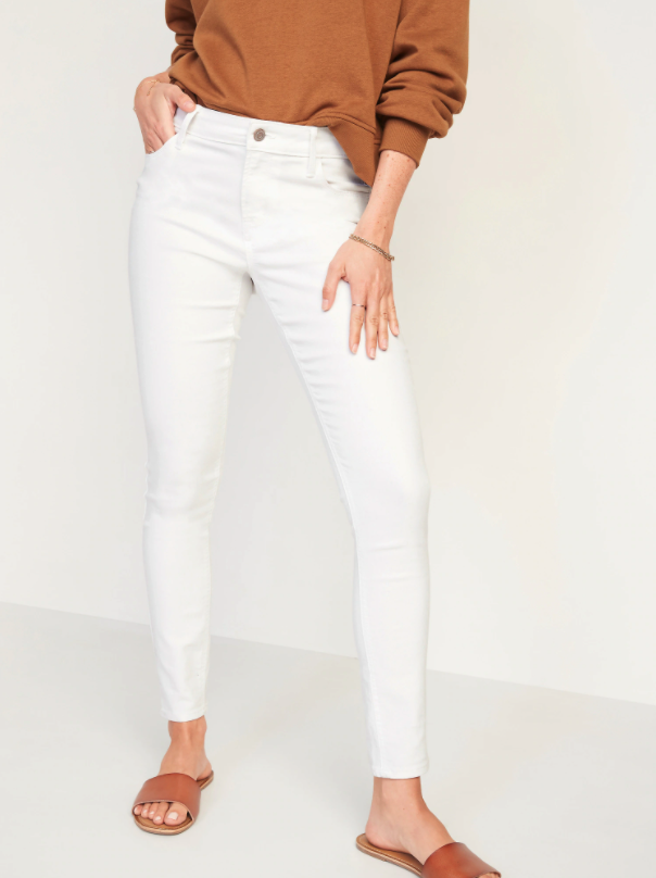 Mid-Rise Super Skinny White Jeans. Image via Old Navy.