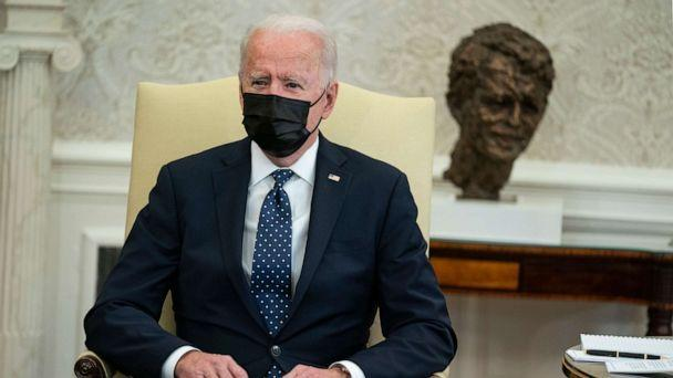 PHOTO: President Joe Biden speaks during a meeting with members of the Congressional Hispanic Caucus, in the Oval Office of the White House, April 20, 2021, in Washington. (Evan Vucci/AP)