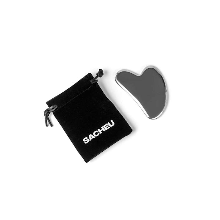 """<p><strong>Sacheu Gua Sha - Stainless Steel</strong></p><p>sacheu.com</p><p><strong>$35.00</strong></p><p><a href=""""https://sacheu.com/products/gua-sha"""" rel=""""nofollow noopener"""" target=""""_blank"""" data-ylk=""""slk:Shop Now"""" class=""""link rapid-noclick-resp"""">Shop Now</a></p><p>Influencer Sarah Cheung's beauty brand, Sacheu, filled a simple yet important need in the beauty world: its gua sha and facial roller tools are made out of anti-bacterial stainless steel, making them that much more acne- and skin-safe. </p>"""