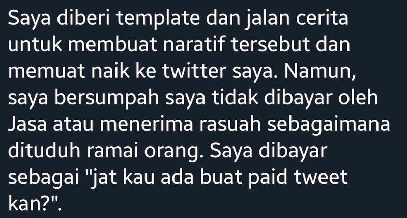 The user confessed to the tweet being a paid one and basically meant the photo was staged. — Picture via Twitter/@JatI
