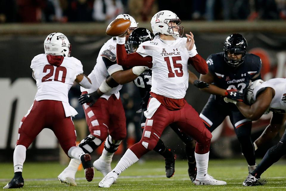 Temple Owls quarterback Anthony Russo (15) throws a pass in the first quarter of the NCAA American Athletic Conference game between the Cincinnati Bearcats and the Temple Owls at Nippert Stadium in Cincinnati on Saturday, Nov. 23, 2019.