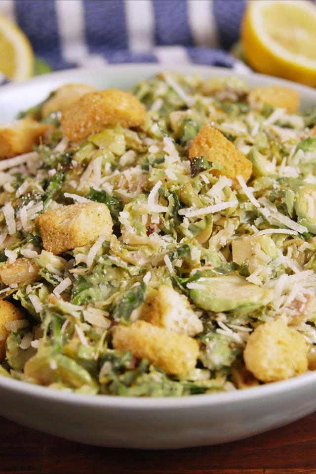 """<p>Forget romaine, brussels sprouts is where it's at.</p><p>Get the recipe from <a rel=""""nofollow"""" href=""""http://www.delish.com/cooking/recipe-ideas/recipes/a56134/caesar-brussels-sprouts-recipe/"""">Delish</a>.</p><p><strong><em>BUY NOW: Le Creuset Cast Iron Skillet, $140, <a rel=""""nofollow"""" href=""""https://www.amazon.com/Creuset-Enameled-Cast-Iron-9-Inch-Skillet/dp/B00005QFSP/?tag=syndication-20&&ascsubtag=[artid"""">amazon.com</a>.</em></strong></p>"""