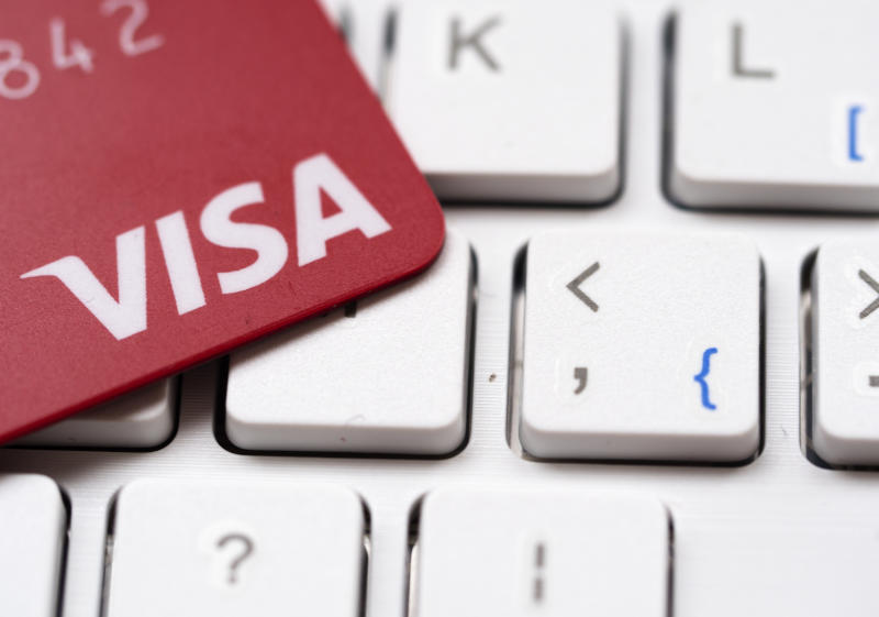 KIEV, UKRAINE - 2020/01/24: In this photo illustration a bank visa card seen on a computer keyboard. (Photo Illustration by Igor Golovniov/SOPA Images/LightRocket via Getty Images)
