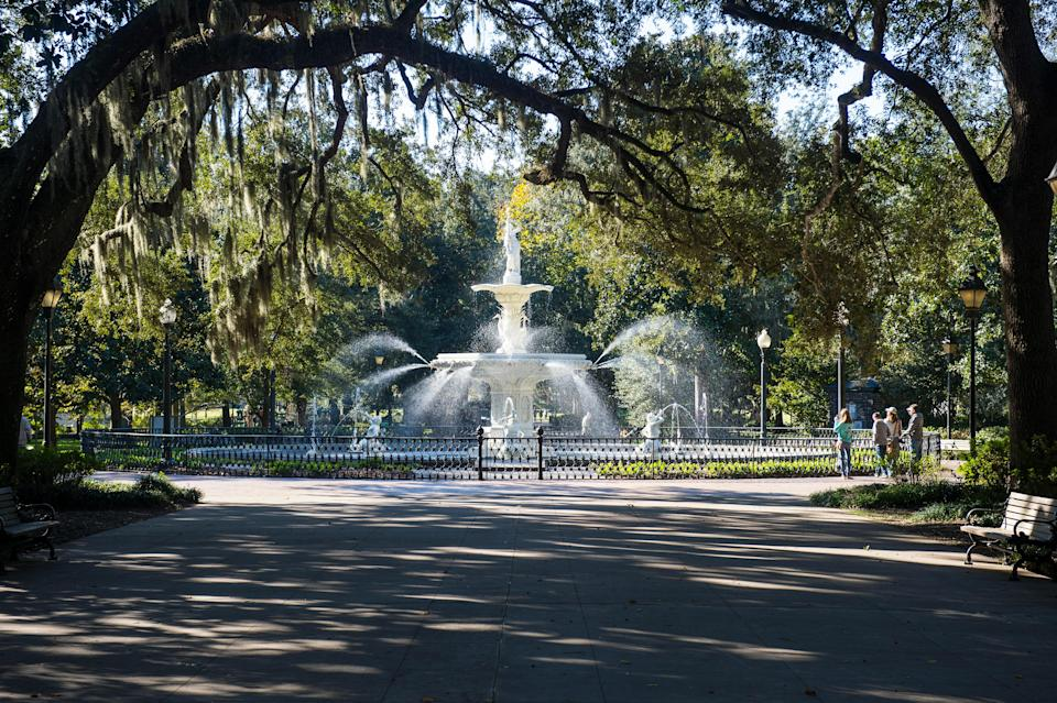 """<p><strong>Let's start big picture here.</strong> <a href=""""https://www.cntraveler.com/destinations/savannah?mbid=synd_yahoo_rss"""" rel=""""nofollow noopener"""" target=""""_blank"""" data-ylk=""""slk:Savannah"""" class=""""link rapid-noclick-resp"""">Savannah</a>'s (much smaller) answer to <a href=""""https://www.cntraveler.com/activities/new-york/central-park?mbid=synd_yahoo_rss"""" rel=""""nofollow noopener"""" target=""""_blank"""" data-ylk=""""slk:Central Park"""" class=""""link rapid-noclick-resp"""">Central Park</a>, Forsyth Park marks the boundary between the downtown historic district and the rest of the city; in other words, it's where tourists and locals converge. If you're walking down Bull Street, simply continue onto the sidewalk that runs north to south through Forsyth, a wide avenue lined by live oak trees. On the north side of the park, the elegant Forsyth fountain is more than 150 years old, and the image you're most apt to see on a brochure boasting of Savannah's beauty; on the south side, the Forsyth Farmers' Market takes over every Saturday, year round, from 9 a.m. to 1 p.m. There's a playground for kids, a bandshell that's home to the Savannah Jazz Festival, and a shaded sidewalk around the park's perimeter that's popular with runners and dog-walkers.</p> <p><strong>Any standout features or must-sees?</strong> Spanning just 30 acres, the park is easy to get through on a single stroll. The southern end is recreational, with basketball and tennis courts. The northern end, closest to the historic district has a Confederate monument in the middle; in recent years, the Savannah City Council has weighed options regarding its fate, including possible removal. The tree-shaded north end is also the loveliest place to have a picnic, or just loll around for a while. Look up into the trees for a glimpse of a pair of red-tailed hawks that hang out on the low branches; look east across Drayton Street to see the Candler Oak, a massive tree thought to be roughly 300 years old.</p> <p><strong>Was it easy to get aroun"""