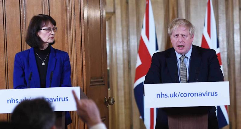 England's deputy medical officer, Dr Jenny Harries, with prime minister Boris Johnson during a previous government coronavirus briefing (PA)