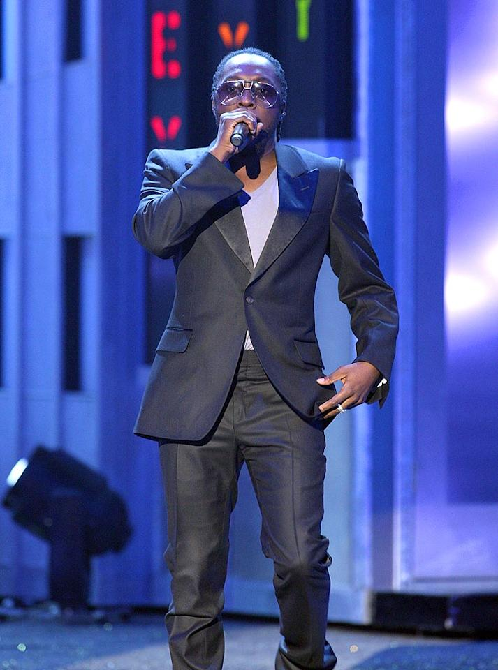 "Black Eyed Peas frontman will.i.am delivers a scorching performance of his new hit single ""I Got It From My Mama."" John Shearer/<a href=""http://www.wireimage.com"" target=""new"">WireImage.com</a> - November 15, 2007"