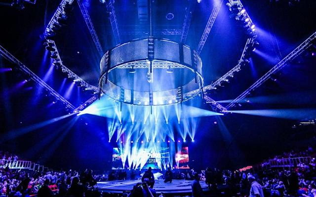 The cage drops at the end of the kickboxing heralds the start of the MMA event in dramatic style