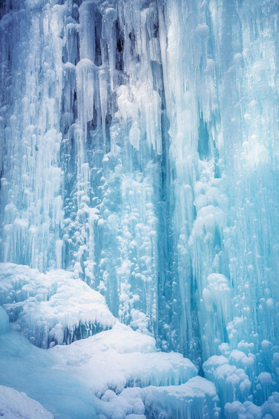 <p>The close up details of this waterfall in Slovenia look like Elsa worked her magic. </p>