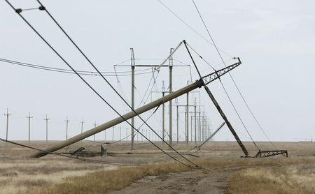 A view shows a damaged electrical pylon near the village of Chonhar in Kherson region, Ukraine, November 23, 2015. REUTERS/Stringer