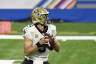 New Orleans Saints quarterback Drew Brees looks downfield during the first half of an NFL football game against the Detroit Lions, Sunday, Oct. 4, 2020, in Detroit. (AP Photo/Jose Juarez)