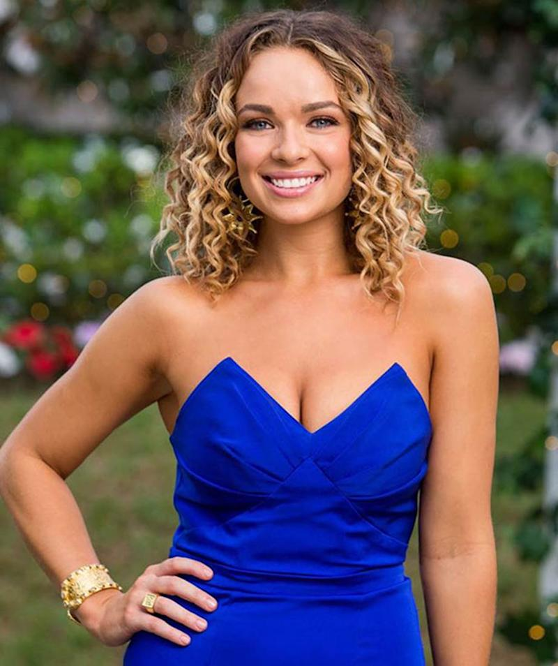 Abbie Chatfield in a strapless blue dress on The Bachelor Australia 2019