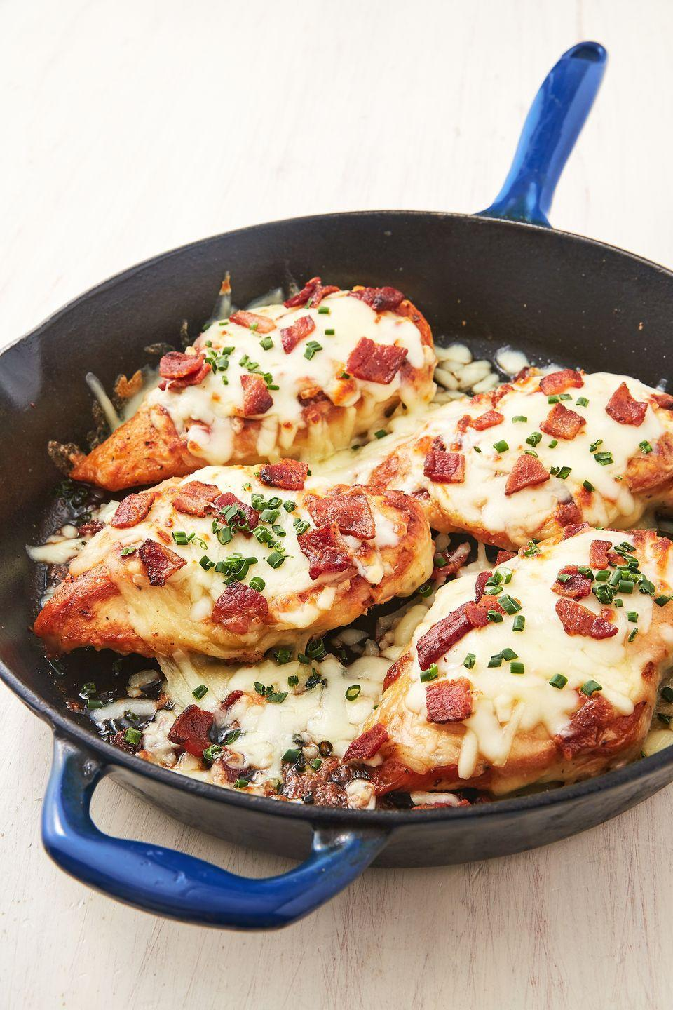 """<p>Keto fans, this one's for you.</p><p>Get the recipe from <a href=""""https://www.delish.com/cooking/recipe-ideas/a27156187/cheesy-bacon-ranch-chicken-reipe/"""" rel=""""nofollow noopener"""" target=""""_blank"""" data-ylk=""""slk:Delish"""" class=""""link rapid-noclick-resp"""">Delish</a>. </p>"""