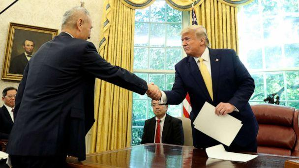 PHOTO: President Donald Trump shakes hands with Vice Premier Liu He in the Oval Office of the White House in Washington, Oct. 11, 2019. (Andrew Harnik/AP)