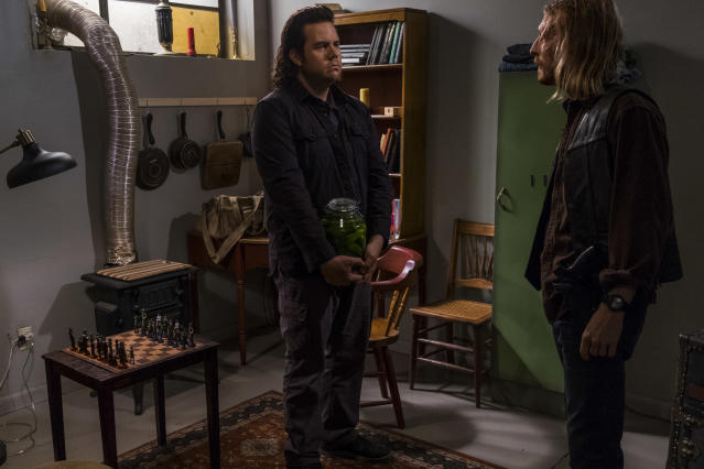 <p>Josh McDermitt as Dr. Eugene Porter, Austin Amelio as Dwight in AMC's <i>The Walking Dead.><br> (Photo: Gene Page/AMC)</i> </p>