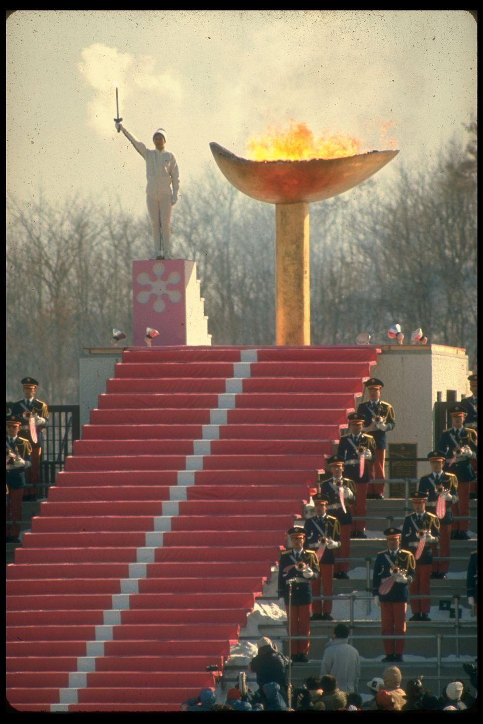 <p>Japan designed a unique gold cauldron for the Olympic flame during the 1972 Winter Olympic Games opening ceremony in Sapporo. </p>