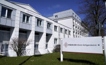 Exterior view of the 'MEDIAN Clinic Heiligendamm' in Heiligendamm, northern Germany, Wednesday, April 14, 2021. The MEDIAN Clinic, specialized on lung diseases, treats COVID-19 long time patients from all over Germany. (AP Photo/Michael Sohn)