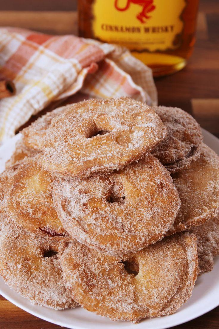 """<p>These aren't your typical apple fritters. They are so much more. Slices of apple get dipped in a <a href=""""https://www.delish.com/uk/cooking/recipes/a33120911/fireball-apple-jell-o-shots-recipe/"""" rel=""""nofollow noopener"""" target=""""_blank"""" data-ylk=""""slk:Fireball"""" class=""""link rapid-noclick-resp"""">Fireball</a> batter and then fried to a crispy sweet perfection. </p><p>Get the <a href=""""https://www.delish.com/uk/cooking/recipes/a33120950/fireball-apple-fritters-recipe/"""" rel=""""nofollow noopener"""" target=""""_blank"""" data-ylk=""""slk:Fireball Apple Fritters"""" class=""""link rapid-noclick-resp"""">Fireball Apple Fritters</a> recipe.</p>"""
