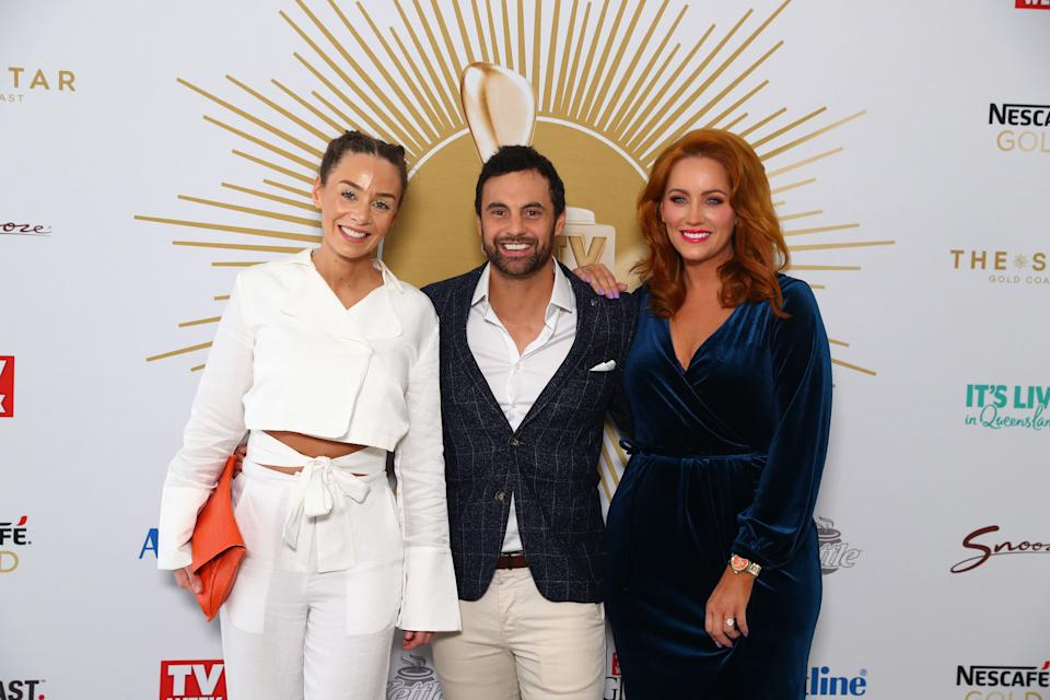 Heidi Latham, Cam Merchant, Jules Robinson from Married at first sight pose the 2019 TV WEEK Logie Awards Nominations Party at The Star Gold Coast on May 26, 2019 in Gold Coast, Australia. (Photo by Chris Hyde/Getty Images)