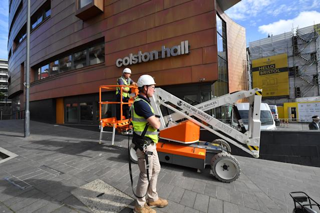 Colston Hall's signage is removed by contractors ahead of a planned renaming. (PA Images)