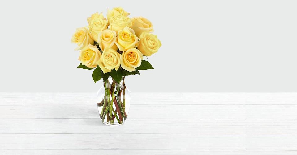 """<p>The <a href=""""https://www.popsugar.com/buy/One-Dozen-Yellow-Roses-444273?p_name=One%20Dozen%20Yellow%20Roses&retailer=proflowers.com&pid=444273&price=45&evar1=casa%3Aus&evar9=46127505&evar98=https%3A%2F%2Fwww.popsugar.com%2Fhome%2Fphoto-gallery%2F46127505%2Fimage%2F46128451%2FOne-Dozen-Yellow-Roses&list1=shopping%2Cgift%20guide%2Cflowers%2Chouse%20plants%2Cplants%2Cmothers%20day%2Cgifts%20for%20women&prop13=api&pdata=1"""" class=""""link rapid-noclick-resp"""" rel=""""nofollow noopener"""" target=""""_blank"""" data-ylk=""""slk:One Dozen Yellow Roses"""">One Dozen Yellow Roses </a> ($45) comes with a vase so you can have roses ready for display come <a class=""""link rapid-noclick-resp"""" href=""""https://www.popsugar.com/Mother%E2%80%99s-Day"""" rel=""""nofollow noopener"""" target=""""_blank"""" data-ylk=""""slk:Mother's Day"""">Mother's Day</a>.</p>"""