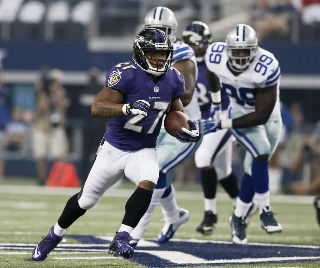 In this Aug. 16, 2014, photo, Baltimore Ravens running back Ray Rice (27) carries during an NFL preseason football game against the Dallas Cowboys in Arlington, Texas. Ravens running back Ray Rice is sitting out two games for domestic violence. A positive marijuana test, meanwhile, means Browns wide receiver Josh Gordon will miss a full year. (AP Photo/Brandon Wade)