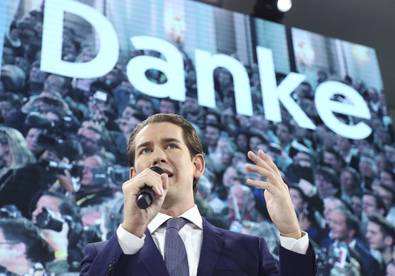 Former Austrian chancellor and top candidate of the Austrian People's Party, OEVP, Sebastian Kurz talks to his supporters in Vienna, Austria, Sunday, Sept. 29, 2019. (AP Photo/Matthias Schrader)