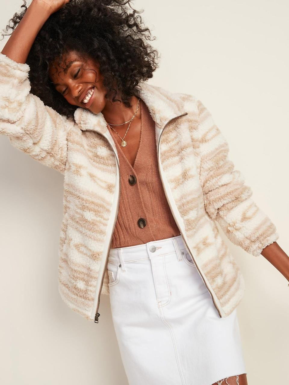 <p>The print on this <span>Old Navy Cozy Sherpa Zip-Front Jacket</span> ($20, originally $32) is so cute.</p>
