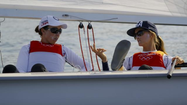 2016 Rio Olympics - Sailing - Final - Women's Two Person Dinghy - 470 - Medal Race - Marina de Gloria - Rio de Janeiro, Brazil - 17/08/2016. Anne Haeger (USA) of USA and Briana Provancha (USA) of USA wait for the start of the race. REUTERS/Brian Snyder FOR EDITORIAL USE ONLY. NOT FOR SALE FOR MARKETING OR ADVERTISING CAMPAIGNS.