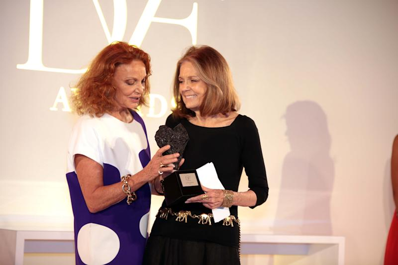 Designer Diane von Furstenberg, left, presents the The 5th Annual DVF Award to Gloria Steinem on Friday, April 4, 2014 at the United Nations Headquarters in New York. (Photo by Luiz C. Ribeiro/Invision/AP)