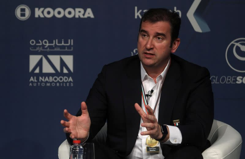 Manchester City Chief Executive Ferran Soriano gestures during the Dubai International Sports Conference in Dubai