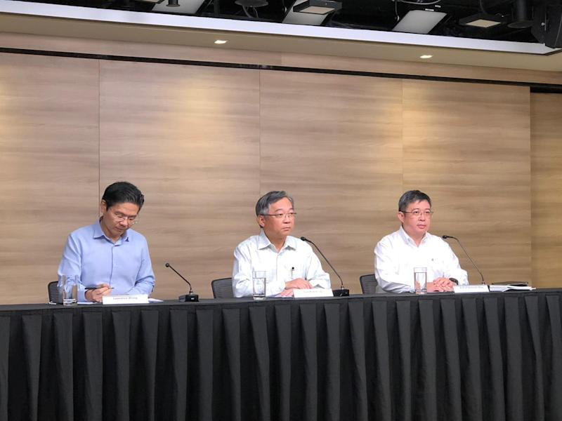 Left tor right: Taskforce co-chairs National Development Minister Lawrence Wong, Health Minister Gan Kim Yong and Associate Professor Kenneth Mak, the health ministry's director of medical services at a press conference on 14 February, 2020. (PHOTO: Yahoo News Singapore)