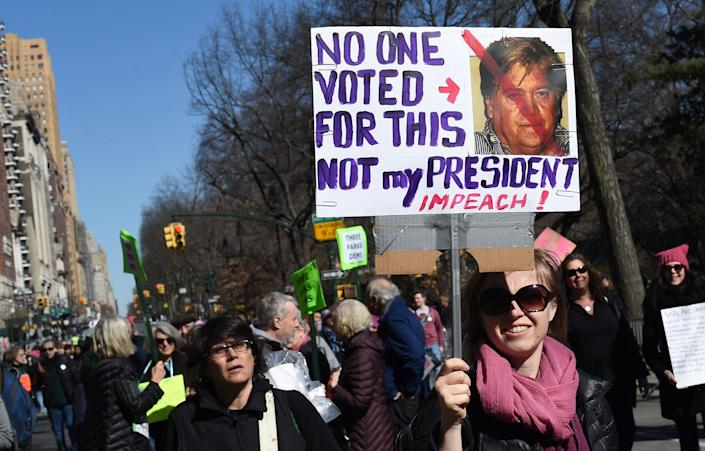"""<p>Protesters march near Central Park West in New York City during a """"Not My President's Day"""" rally on Feb. 20, 2017, as part of a protest against President Trump. (Timothy A. Clary/AFP/Getty Images) </p>"""