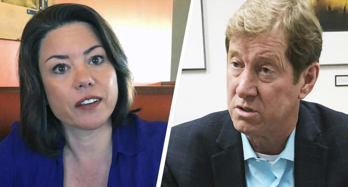 Democrat Angie Craig and Republican Rep. Jason Lewis are contenders in Minnesota's Second District congressional race.(Photos: Steve Karnowski/AP)