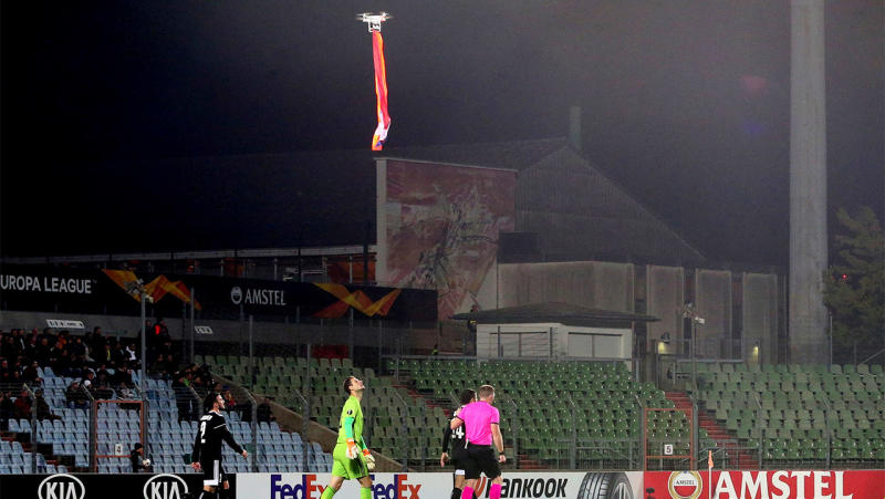 A drone carrying a flag disputed by Azerbaijan and Armenia stopped the Europa League match between Dudelange and Qarabag. (Reuters)