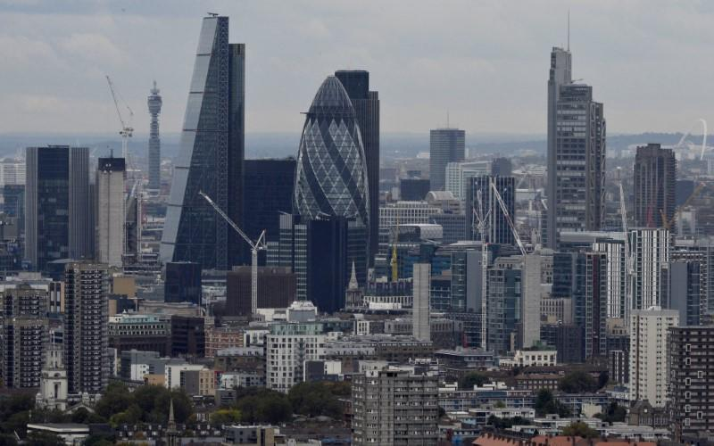 A general view is seen of the London skyline from Canary Wharf in London